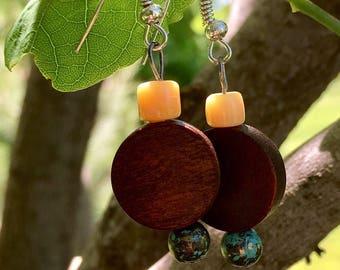 Beaded dangle and drop earrings, earth-tone
