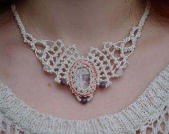 Bridal Heliotrope Macrame Necklace