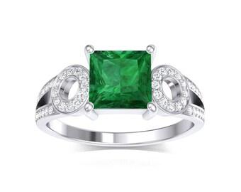 unique square emerald cut emerald diamond designer ring emerald diamond engagement ring 14k white - Emerald Wedding Rings