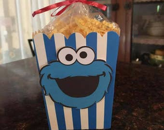12 Cookie Monster Mini Party Favor Popcorn Boxes