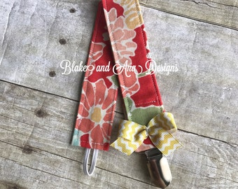 Personalized Floral Pacifier Clip