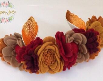 Felt flower crown, flower crown, autumunal flower crown, Autumn falls