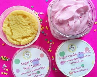 Sugar Cookie Lotion Set - Solid Cookie Lotion - Whipped Frosting Lotion - Whipped Body Butter - Lotion - Hand & Body Cream
