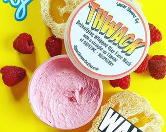 THWACK Detoxifying Whipped Clay Face Mask - CAFFEINE + RASPBERRY - Clay Mask - Acne Masque