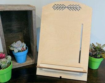Wooden Tablet Holder-Personalize-Ipad-Nook-Kindle-Tablet-Simple Design-Slim Design-Recipe Holder