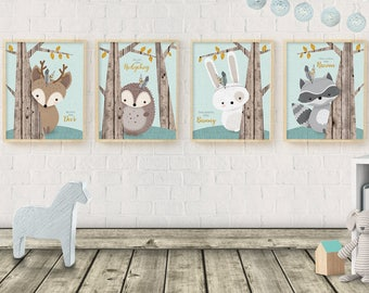 Woodlands Nursery, Set of 4, Nursery neutral gender, Print Set, Forest Animal Set, Nursery Art, Forest Friends, Deer raccoon, Rustic Nursery