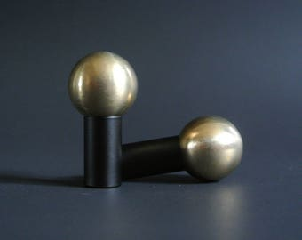 Pair of Mid Century Modern Matte Black Drawer Knob -  Matte Black Ball Pull -Brass Hardware -  Free Shipping
