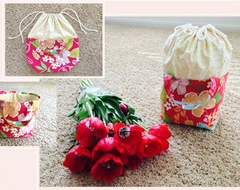 Drawstring Basket Bag, Craft Project Bag, Yarn Organizer, Crochet Storage Basket, Multifunctional Basket Bag