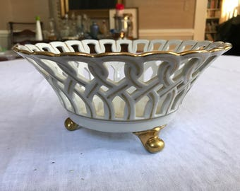 Old Paris Porcelain Reticulated Footed Compote