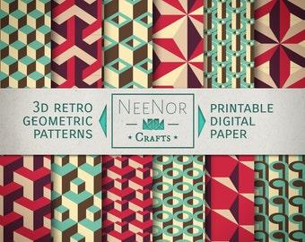 3D Retro Geometric Pattern Digital Wrapping Paper