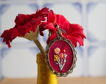 Gerbera flower- Hand Embroidered Necklace, red, yellow, peach, pink