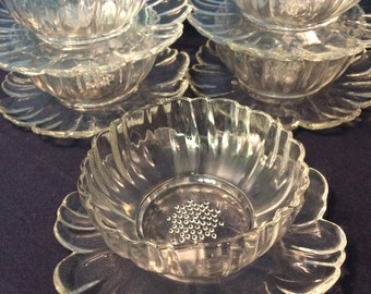 Vintage Flower Bowls with Attached Petal Shaped Plates, Set of 5