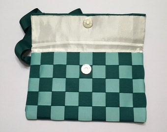 Green check unique clutch,  bridesmaid gift, makeup bag, green ribbon purse, unique small tote, checkered funky bag, handmade bag