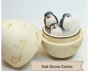 Easter gifts etsy penguin egg with three tiny penguins bird lover gift easter gift for ages 12 negle Images