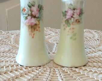 Vintage Porcelain with Roses Bavarian Salt and Pepper Shakers