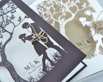 Rustic wedding invitation, Handmade wedding invitation, Laser cut wedding invitation, Rustic wedding invite,