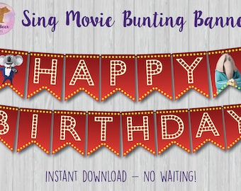 Sing Movie Banner, Sing Bunting Banner, Sing Party Decoration, Sing Party Banner, Sing Birthday Sign, Sing Movie Sign, Sing Printable