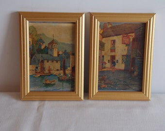 A pair of framed pictures of old Cornwall.