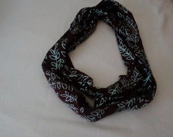 Beautiful Dark brown and Turquoise Cotton Infinity Scarf