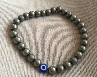 Stunning handmade Pyrite beaded Bracelet with a Turkish Glass Evil Eye Gemstone Fools Gold