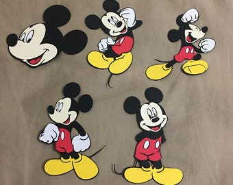 Set of 5 Mickey Mouse cutouts.
