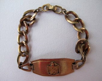 Victorian Peerless Gold-Filled Crest Bracelet