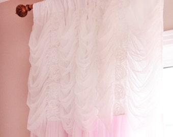Pink Shabby Chic White Rose Ruffle Lace Overlay Ruched Bow Tie Curtain