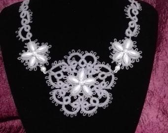 Tatting lace Choker necklace, Pearl Grey. Elegant, refined, romantic