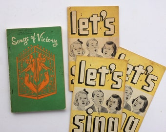 Songs of Victory and Let's Sing Bundle - 1972 and 1962 Paperbacks - Vintage Books - Christians Hymnal Song Books