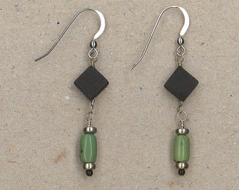 Black Onyx, Variscite, and Sterling Silver Earrings