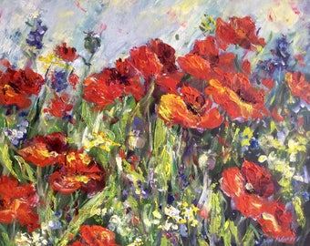 Red Poppies Painting Original Oil Floral Painting 20 x 24""