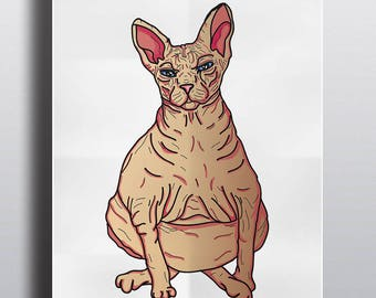 Hairless cat Art print