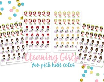 Cleaning Girl Icons- Planner Stickers, Sweeping, Laundry, Chores