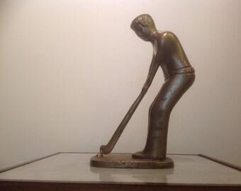 Vintage Brass Golfer Figurine
