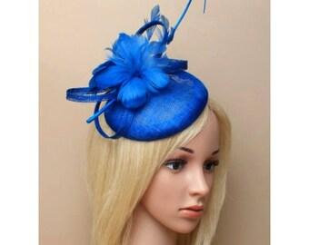 royal blue fascinator, cap fascinator, feather fascinator, wedding head piece, bridal hair piece, blue hat, formal hats, blue wedding  hat