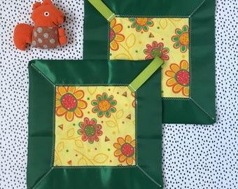 Flowers at the zoo lovey blanket-security blanket-sensory blanket-baby shower gift