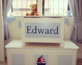 Personalised Wooden Toy Boxes - Bespoke and Hand-painted artwork - Bespoke and custom made to Order