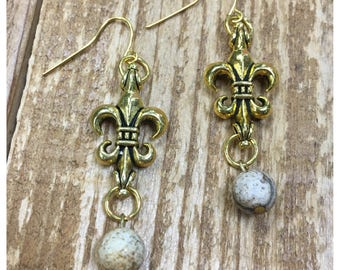 Gold Fleur de Lis with ivory bead dangle Earrings