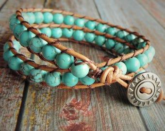 Turquoise Wrap Bracelet, Leather Wrap Bracelet, Bohemian Bracelet, Turquoise Bracelet, Beaded Bracelet, Boho Bracelet, Beaded Wrap Bracelet