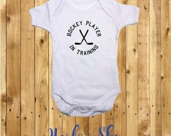 100% White Cotton Baby Vest/Onesie With Hockey Player In Training Print *Baby Shower*Gift*Newborn*