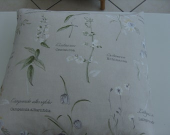 "Cushion Cover 18"" by 18"" Fryetts Fabric 'Botanical Garden'100% Cotton Furnishing Fabric.Floral/Wildflowers/Script"