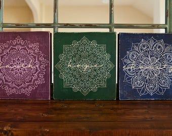 Set of 3 Rustic Bohemian Faith Hope Charity Signs