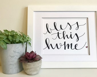 Hand lettering home print - bless this home