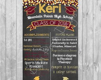 Graduation Chalkboard Poster; High School or College Graduation - Digital