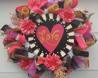Love Deco Mesh Valetine's Day Wreath