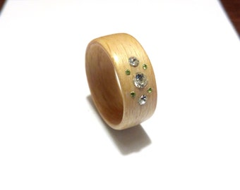 Woman's Wooden Ring. Bentwood Ring. Maple woods With Swarovski crystals