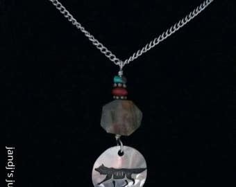 """Wolf charm pendant necklace signed """"High"""""""