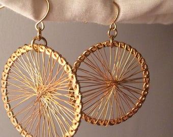 Goldtone Wagon Wheel Pierced Earrings