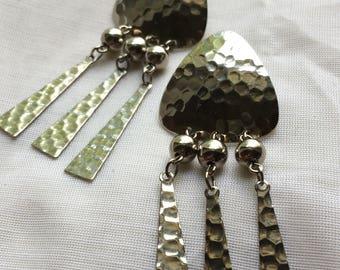 Hammered Silvertone Windchimey Post Earrings