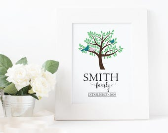 Customizable Coloured FAMILY TREE - Digital Art Print - Birds, Silhouette, Family name, Established date, Front Door